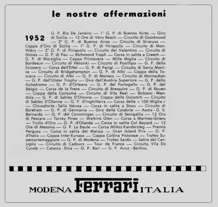 Victoires Ferrari 1952